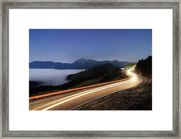 Car Light Trails And Star Trails Framed Print