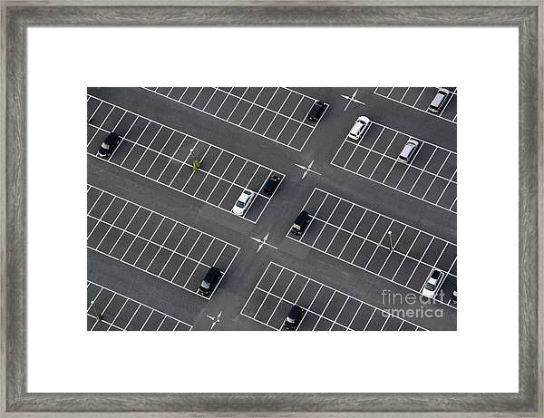 Car Park Seen From Above With Many Framed Print