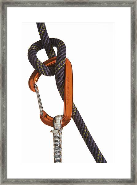 Carabiner Attached To Climbing Rope Framed Print