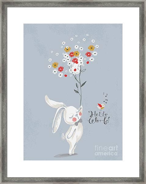 Card With Cute Rabbitbunny With A Framed Print
