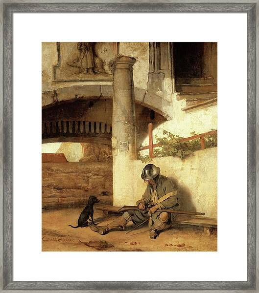 Carel Fabritius The Gate Guard/the Sentry, 1654. Painting. Oil On Canvas. Framed Print