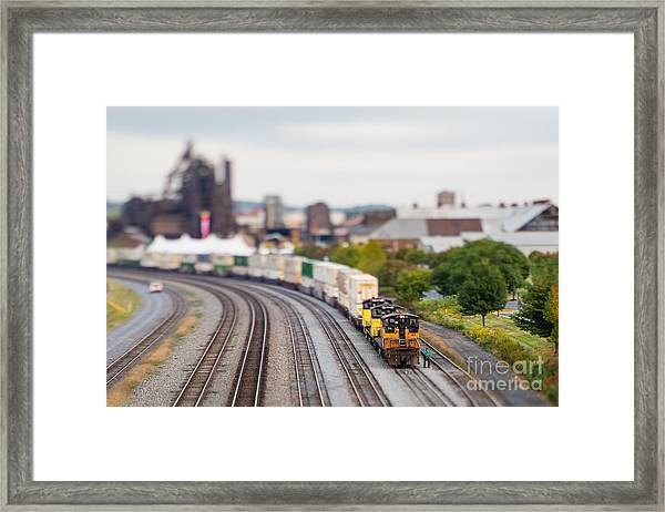 Cargo Train Photographed Using A Framed Print