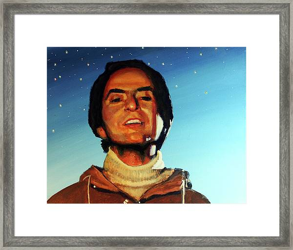 Carl Sagan Cosmos Framed Print by Simon Kregar