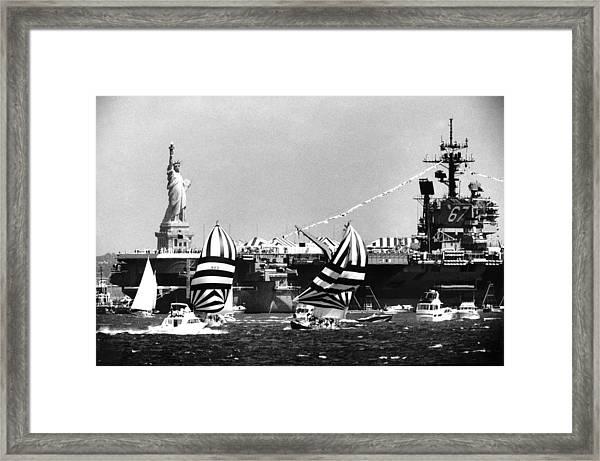Carrier John F. Kennedy Plows Past Framed Print
