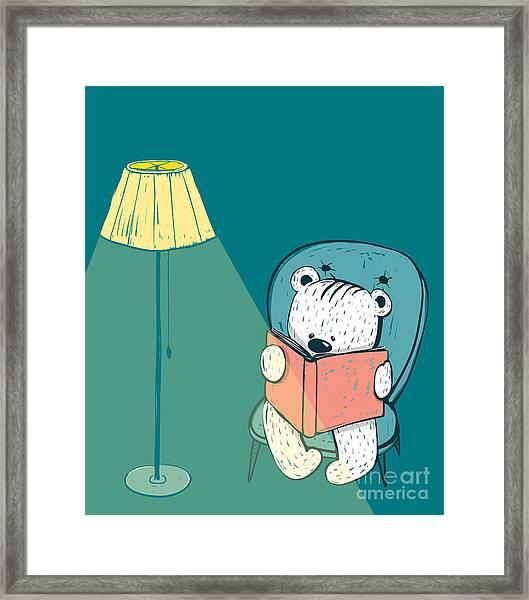 Cartoon Baby Bear Reading A Book. Hand Framed Print by Popmarleo