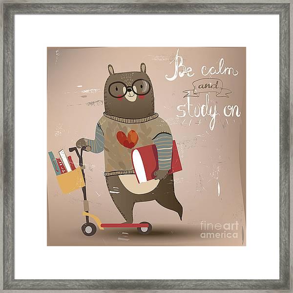 Cartoon Bear On The Scooter Framed Print