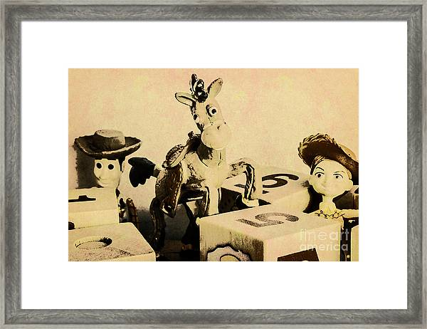 Cartoon Character Cowboys And Cowgirls Framed Print