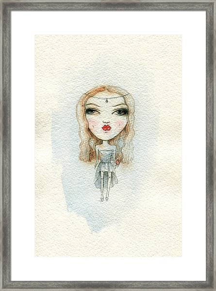 Cartoon Cute Child Girl  . Watercolor Framed Print
