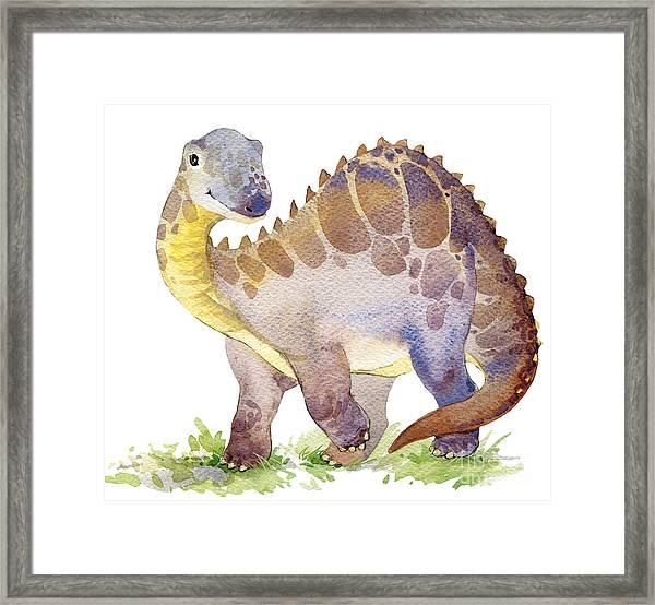Cartoon Dinosaur Watercolor Framed Print