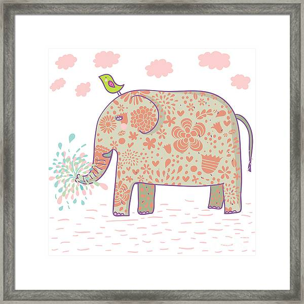 Cartoon Elephant Design. This Framed Print