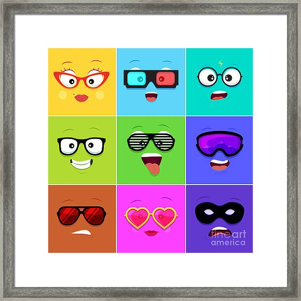 Cartoon Faces With Emotions V.12 - Framed Print