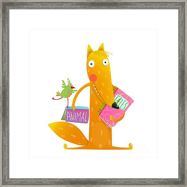 Cartoon Fox Reading Books With Bird Framed Print