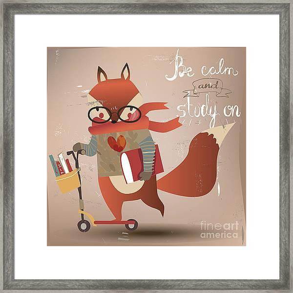 Cartoon Fox With Books Framed Print