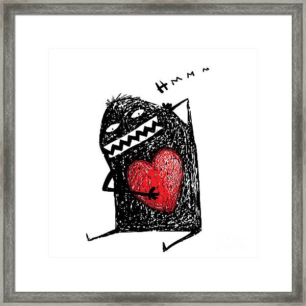 Cartoon Fun Amazing Character Scribble Framed Print