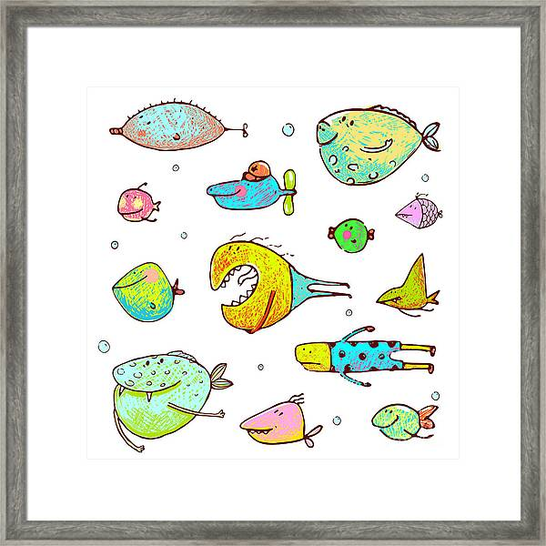 Cartoon Fun Humorous Fish Drawing Framed Print