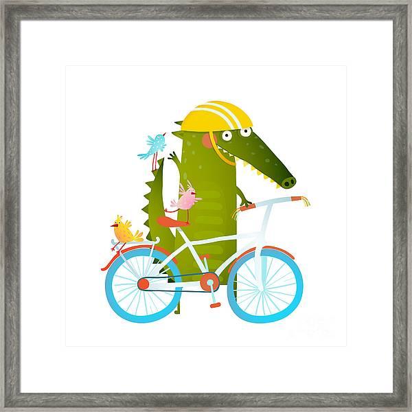 Cartoon Green Funny Crocodile In Helmet Framed Print