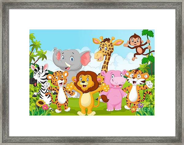 Cartoon Happy Little Animal Framed Print