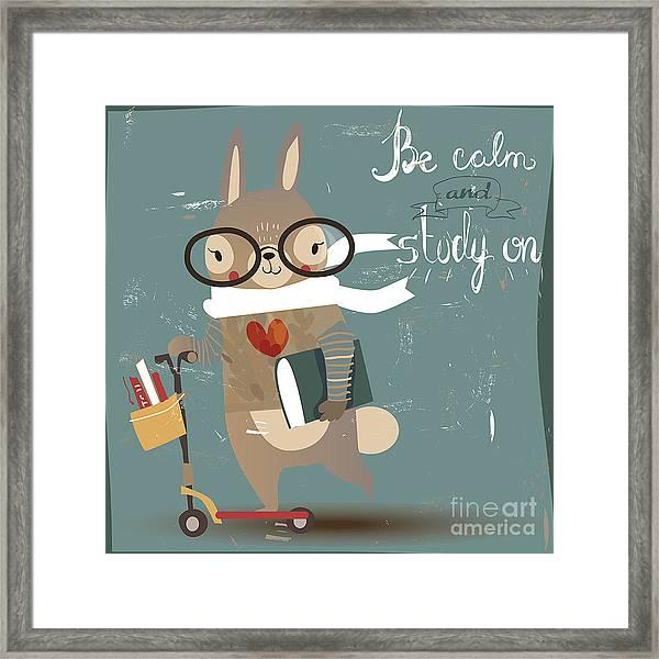 Cartoon Hare With Books Framed Print