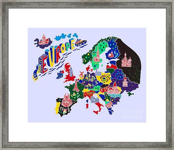 Cartoon  Map Of Europe. Travels Framed Print by Daria i
