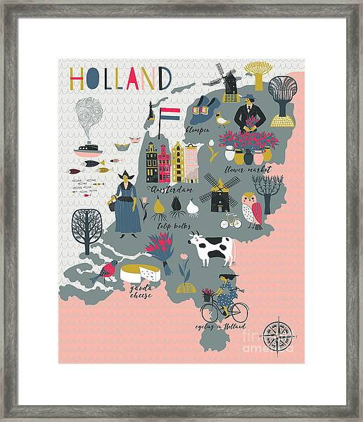 Cartoon Map Of Holland With Legend Icons Framed Print by Lavandaart