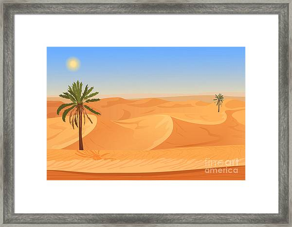 Cartoon Nature Sand Desert Landscape Framed Print