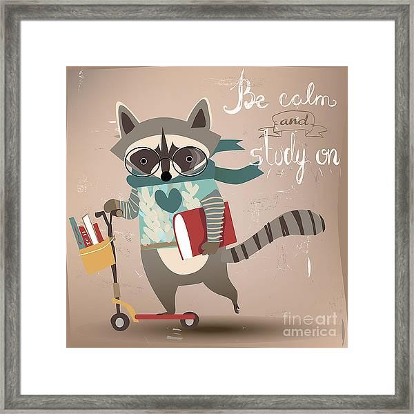 Cartoon Raccoon On Scooter Framed Print