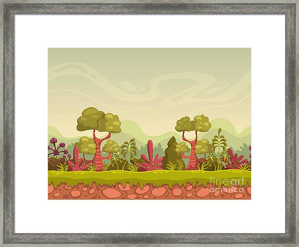 Cartoon Seamless Nature Landscape Framed Print