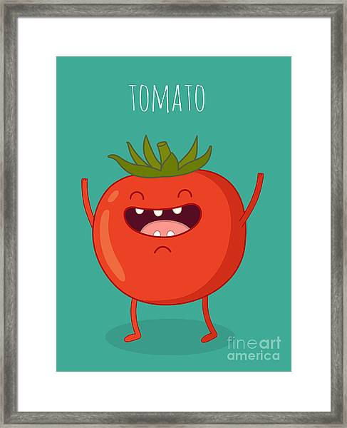 Cartoon Tomato With Eyes And Smiling Framed Print