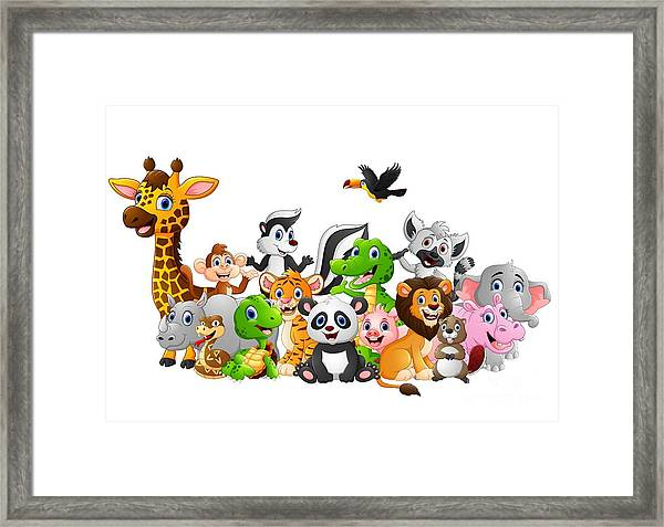 Cartoon Wild Animals Background Framed Print