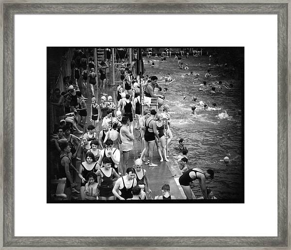 Cascade Pool Crowds Framed Print