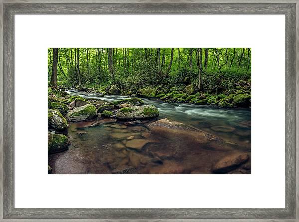 Cascades Of The Oconaluftee Framed Print