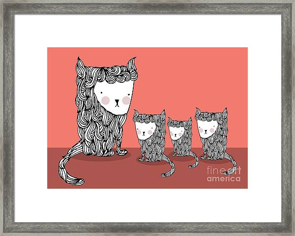 Cat And Kittens Illustrationvector Framed Print by Lyeyee