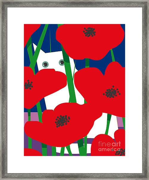 Cat Look 8 Framed Print by Artistan