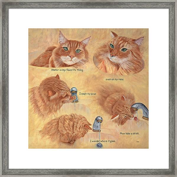 Cat Splash Framed Print