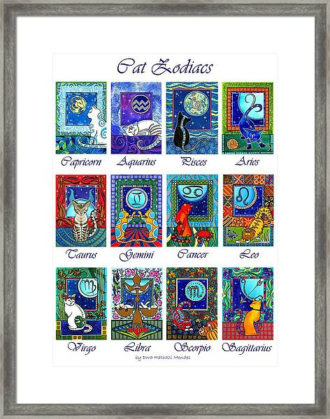 Cat Zodiac Astrological Signs Framed Print