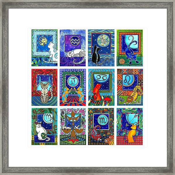 Cat Zodiac Paintings  Framed Print