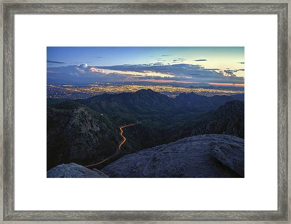 Catalina Highway And Tucson Framed Print