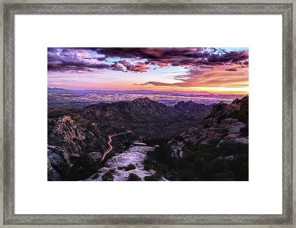 Catalina Highway Sunset And Tucson City Lights Framed Print