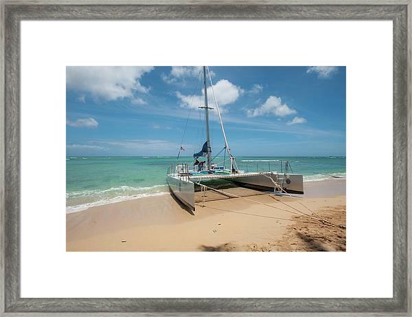 Catamaran On Waikiki Framed Print