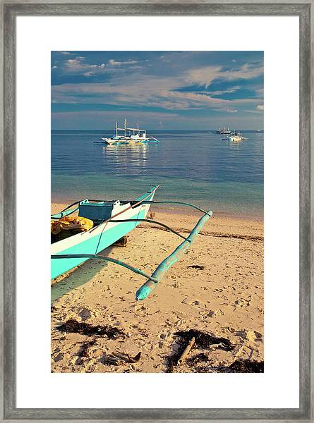 Catamarans On Sea Framed Print by Flash Parker