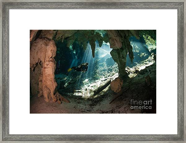 Cave Diving In Cenote Framed Print