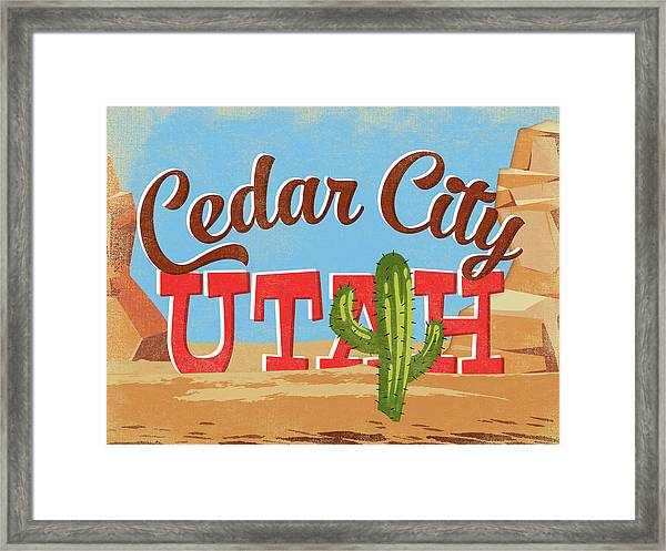 Cedar City Utah Cartoon Desert Framed Print