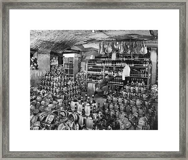 Cellarman At Gianninos Handing Bottle Framed Print
