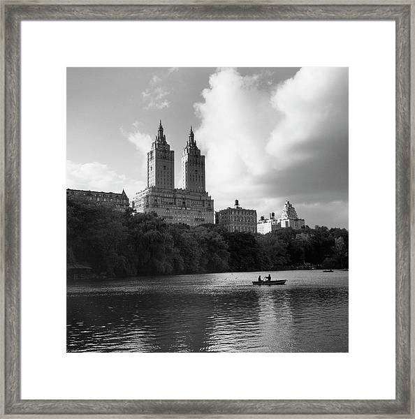 Central Park Lake With Buildings, New Framed Print