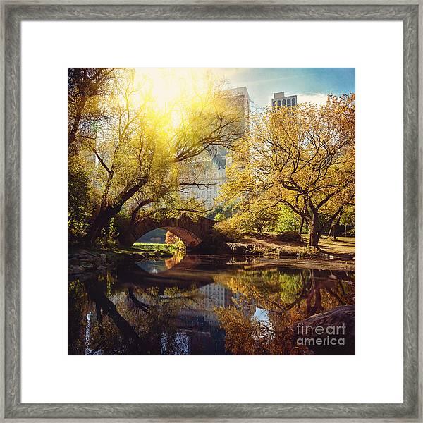 Central Park Pond And Bridge. New York Framed Print