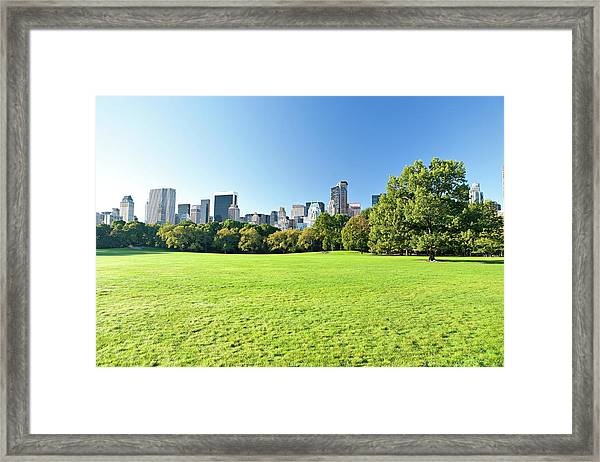 Central Park With Manhattan Skyscrapers Framed Print