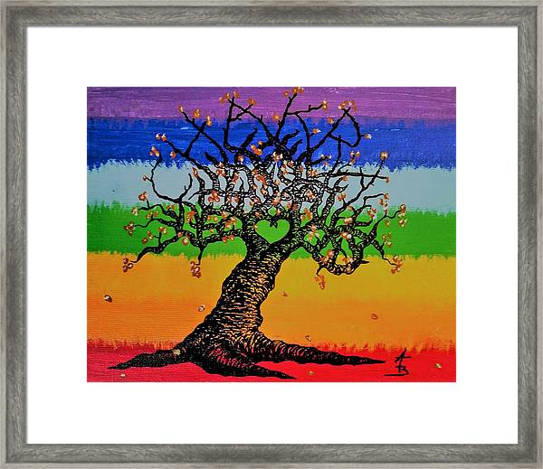 Framed Print featuring the drawing Chakra Love Tree by Aaron Bombalicki