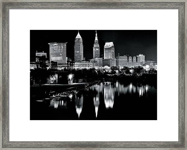Charcoal Night View Of Cleveland Framed Print