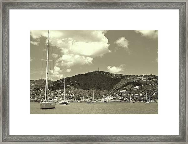 Charlotte Amalie Harbor In Sepia Framed Print