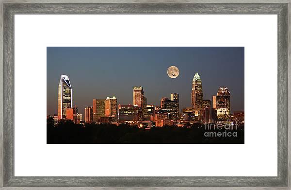 Charlotte City Skyline At Sunset Framed Print
